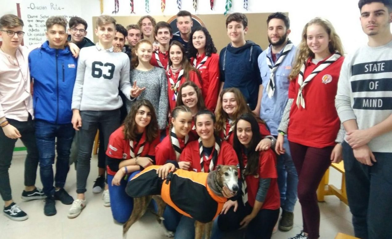 An albacete scout group get visited by Lena the galga and the Arca de Noe team